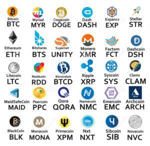 криптовалюты список - иконки и надписи